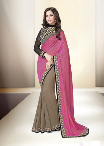 PINK & COFFE SATIN CHIFFON GEORGETTE INDIAN SAREE