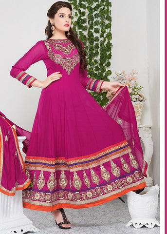 STONE WORKED PINK GEORGETTE ANARKALI DRESS ONLINE