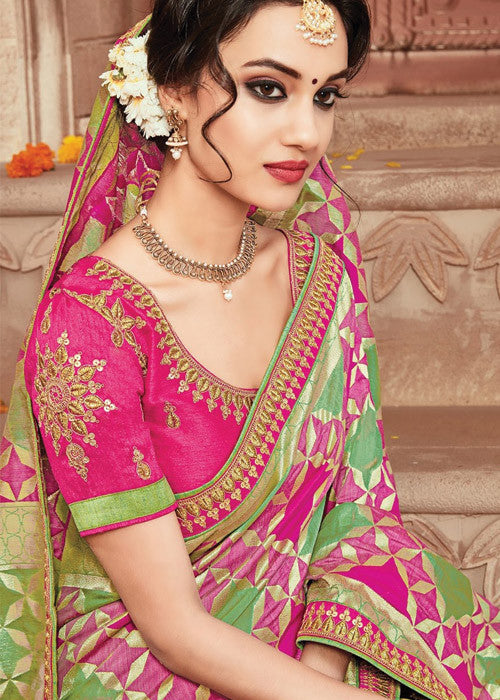 AWESOME PINK & GREEN IKKAT SILK SAREE ONLINE - FREE SHIPPING WORLDWIDE
