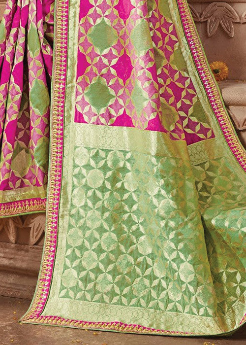 AWESOME PINK & GREEN IKKAT SAREE ONLINE - BEST PRICE