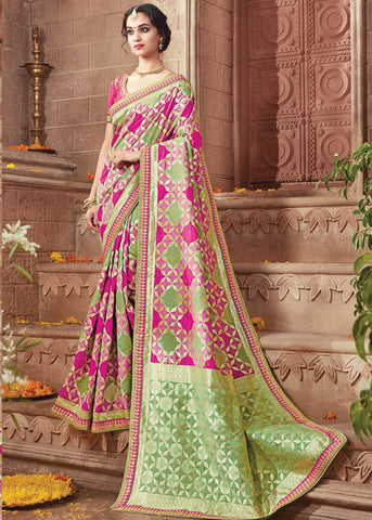 AWESOME PINK & GREEN IKKAT SILK SAREE ONLINE