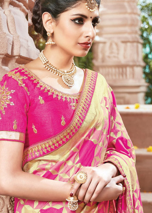 FABULOUS PINK IKKAT SILK SAREE ONLINE - FREE SHIPPING WORLDWIDE