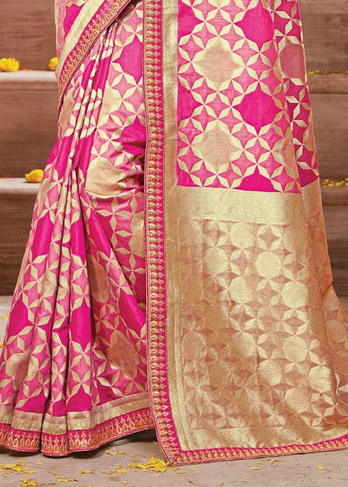 FABULOUS PINK IKKAT SILK SAREE ONLINE - BEST PRICE