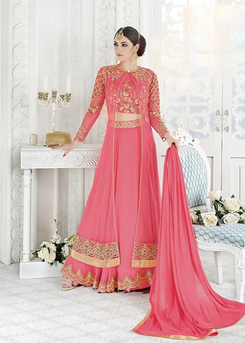 NEW PINK NET ANARKALI DRESS ONLINE USA