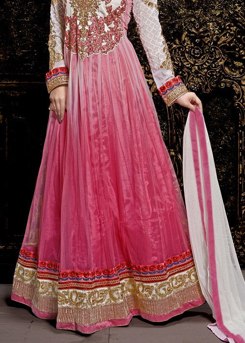 EMBROIDERED PINK NET ANARKALI SUIT ONLINE