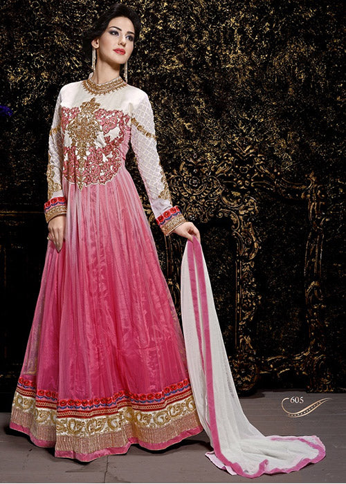 EMBROIDERED PINK NET ANARKALI SUIT - STONE WORK