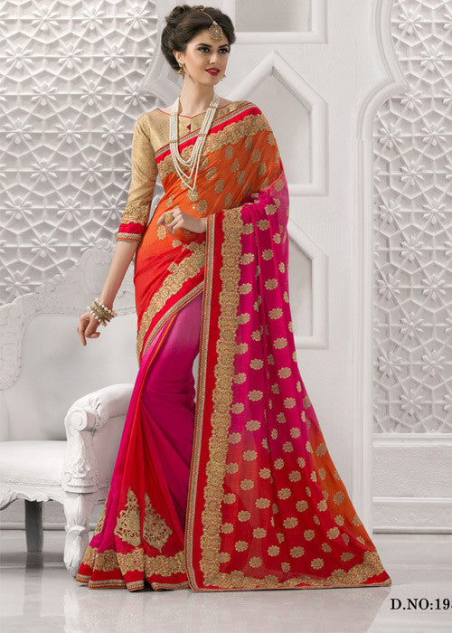 PINK & RED & ORANGE SATIN VELVET SAREE - ELEGANT SAREE ONLINE