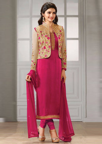 PINK SATIN GEORGETTE SALWAR KAMEEZ WITH EMBROIDERY WORK