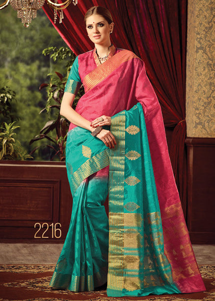 CHARMING PINK & SEA BLUE SILK SAREE ONLINE FOR WOMEN