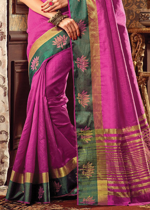 VIBRANT PINK SILK PRINTED SAREE ONLINE FOR WOMEN
