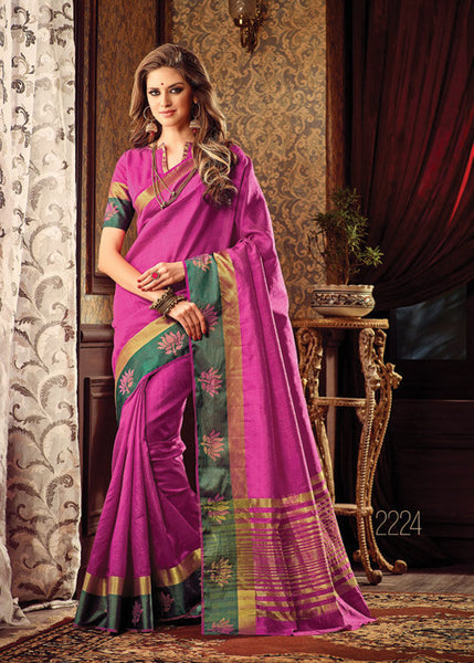 VIBRANT PINK SILK SAREE ONLINE FOR WOMEN
