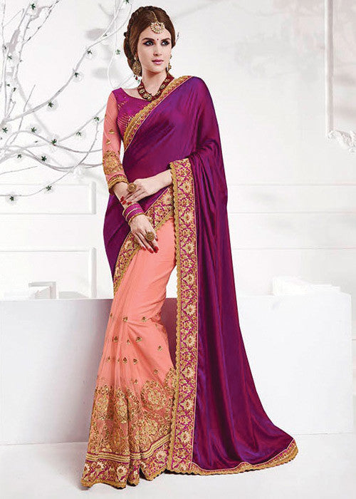 PURPLE & PEACH SOFT SILK NET SAREE - WOMENS PARTY SAREE ONLINE