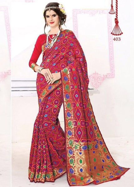 PURPLE PURE BANARASI SILK SAREE - BUY ONLINE