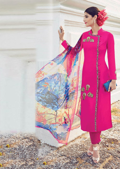 RANI PINK PURE SOFT COTTON SATIN READYMADE SALWAR KAMEEZ SUIT