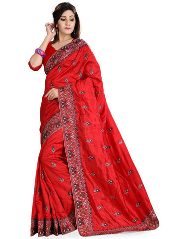 RED ART SILK SAREE WITH EMBROIDERY WORK ONLINE - LOW PRICE