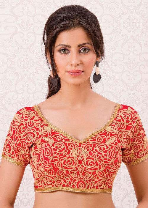 RED BANGLORI SILK READYMADE DESIGNER SAREE BLOUSE