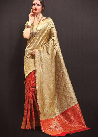 Red & Beige silk sarees online usa