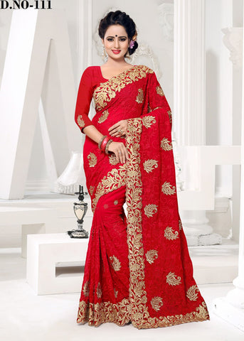 STUNNING RED FAUX GEORGETTE SAREE ONLINE