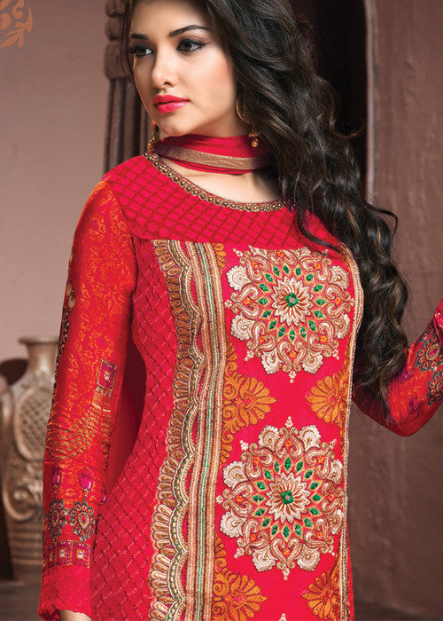 BUY RED GEORGETTE SALWAR KAMEEZ - ONLINE USA