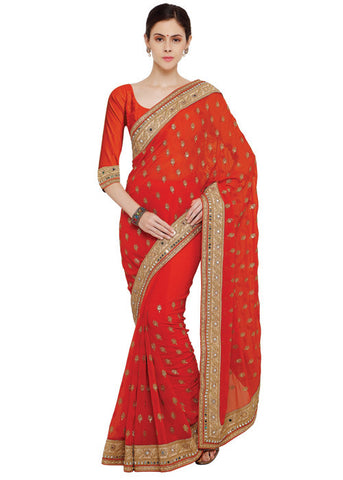 RED GEORGETTE SAREE SALE ONLINE