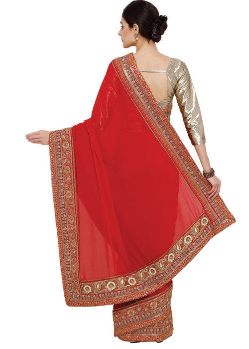 RED GEORGETTE SAREE ONLINE - FREE SHIPPING USA CANADA