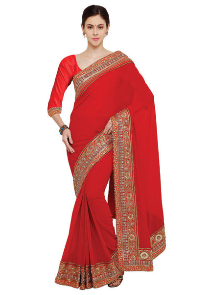 MAGNIFICANT RED GEORGETTE SAREE ONLINE - FREE SHIPPING USA CANADA