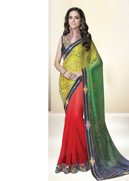 RED & GREEN NET SATIN GEORGETTE INDIAN SAREE