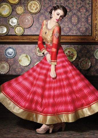 RED & PINK ZURICH SILK ANARKALI SUIT LATEST DESIGN