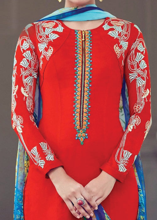 RED PURE SOFT COTTON SATIN READYMADE SALWAR KAMEEZ DRESS - FREE SHIPPING USA CANADA