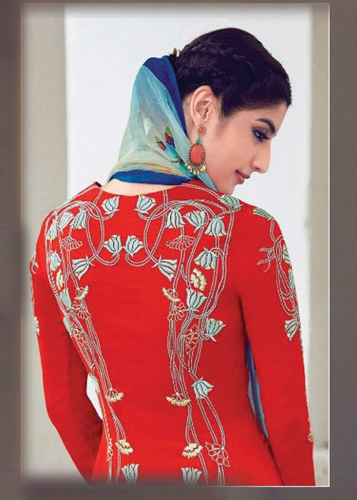 RED PURE SOFT COTTON SATIN READYMADE SALWAR KAMEEZ SUIT - HEAVY EMBROIDERY WORK INDIAN DRESS