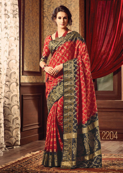 ADMIRABLE RED SILK SAREE ONLINE FOR WOMEN