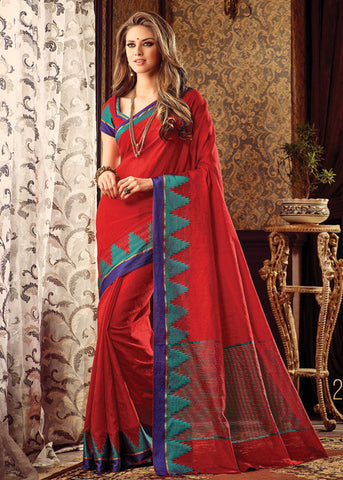 RED SILK PLAIN SAREE ONLINE FOR WOMEN