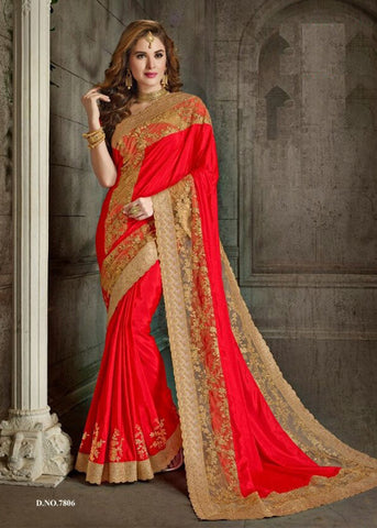 PLAIN RED SILK SAREE WITH EMBROIDERY BORDER ONLINE