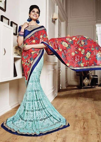 RED & TEAL BLUE NET SILK GEORGETTE SAREE - INDIAN SARI ONLINE