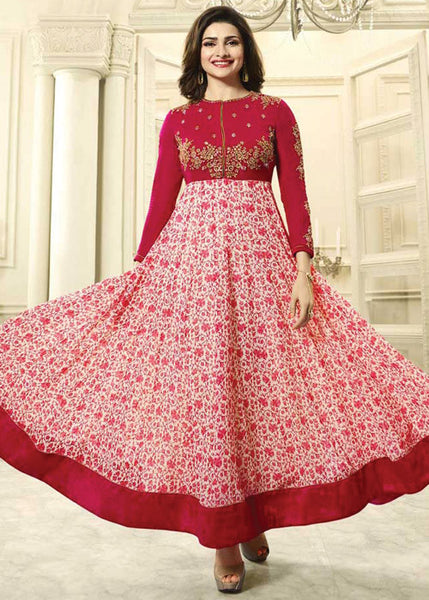 RED & WHITE GEORGETTE LATEST DESIGNER ANARKALI SUIT