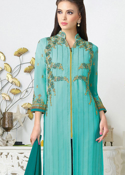 sea blue georgette Indian Salwar Suit Online Shopping for Women
