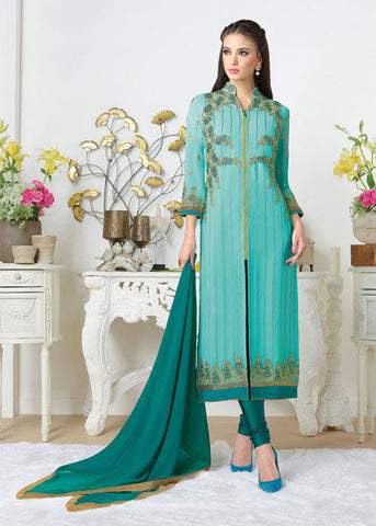 sea blue georgette salwar suit with price