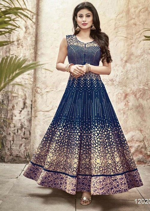 SEA BLUE GEORGETTE SALWAR KAMEEZ SUIT ONLINE