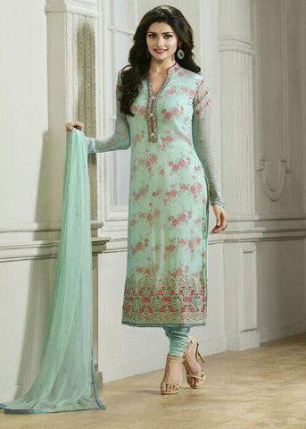 SEA GREEN GEORGETTE DESIGNER SALWAR KAMEEZ WITH EMBROIDERY WORK