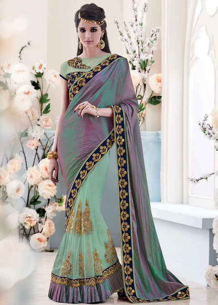 STUNING SEA GREEN SILK NET SAREE - WOMENS PARTY SAREE ONLINE