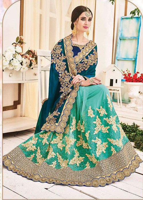 see-blue-green-georgette-net-saree online