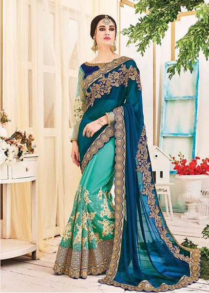 STYLISH SEE BLUE & GREEN GEORGETTE / NET SAREE - NEW DESIGN