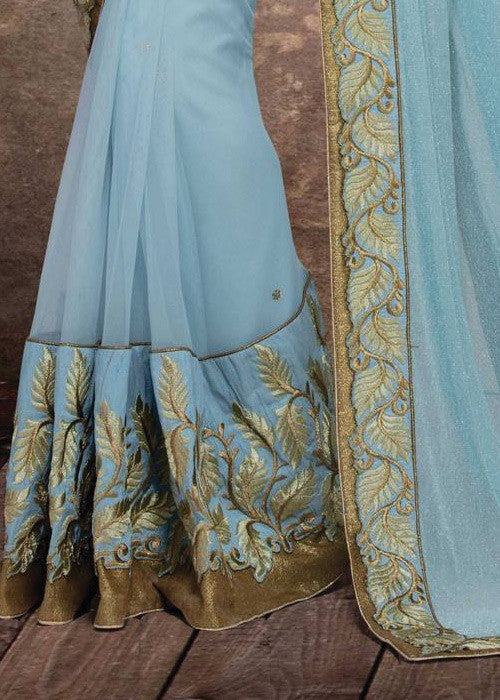 SKY BLUE BAMBERG GEORGETTE NET SAREE - INDIAN SARI ONLINE