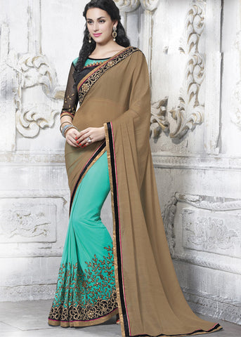 SKY BLUE & BEIGE FAUX CHIFFON NET INDIAN LATEST SAREE ONLINE