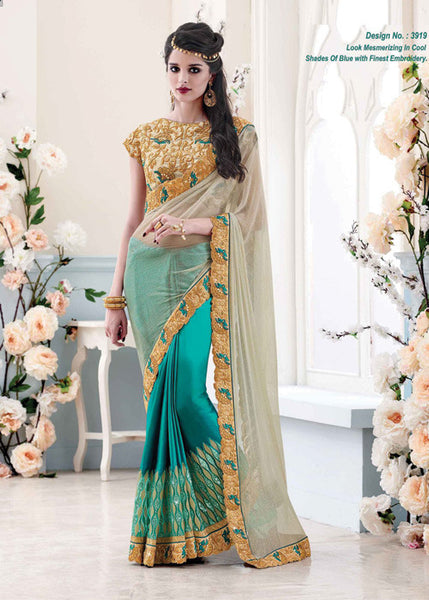 ANGELIC SKY BLUE & CREAM SATIN NET SAREE - WOMENS PARTY SAREE ONLINE