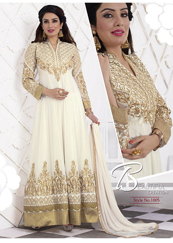 EMBROIDERED WHITE GEORGETTE ANARKALI SUIT ONLINE