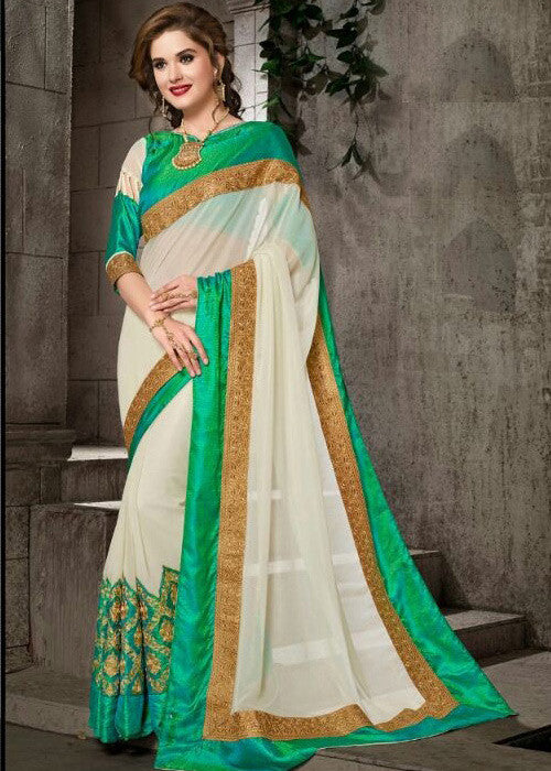 WHITE GEORGETTE SAREE WITH EMBROIDERY WORK ONLINE