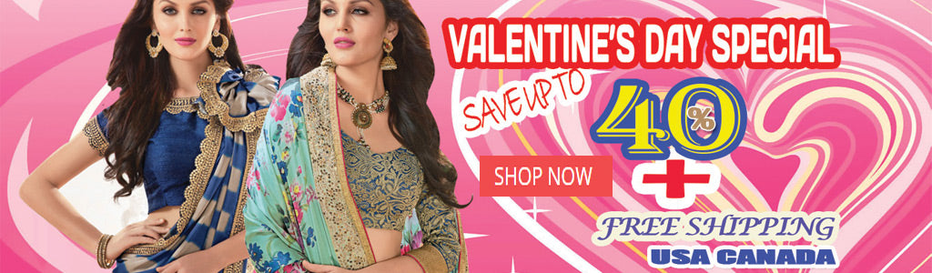 Valentines day saree sale online with free shipping to usa & canada