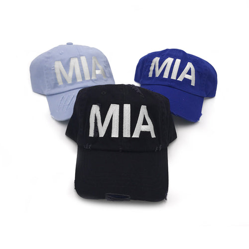MIA Miami Airport Code Distressed Hat