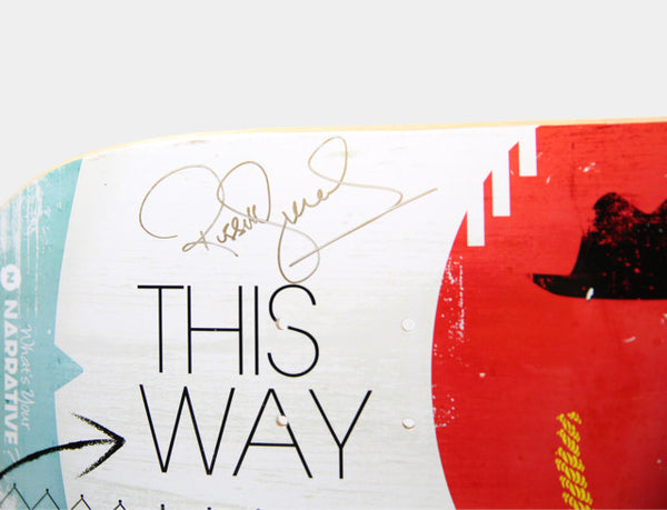 "AUCTION | Art On Deck - ""This Way"" Skateboard Deck Signed by Russell Simmons"